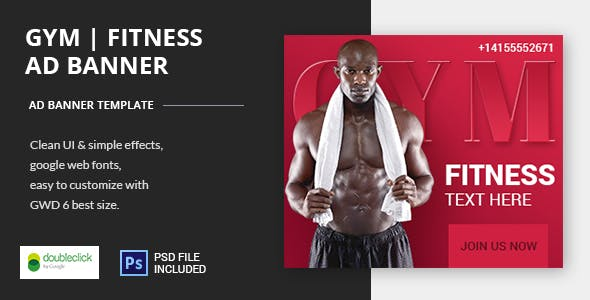 GYM | Fitness -HTML Animated Banner 02
