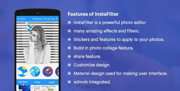 Insta Filter (Fun with Photos & Stickers + Admob) - CodeCanyon Item for Sale