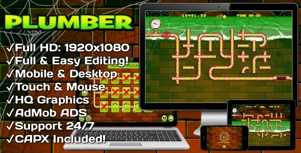 Plumber - HTML5 Game 30 Levels + Mobile Version! (Construct 3 | Construct 2 | Capx) - CodeCanyon Item for Sale