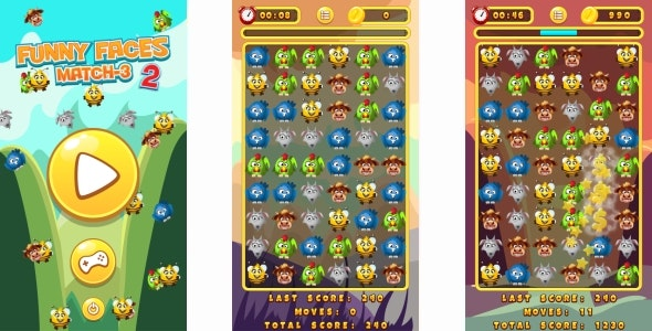 Funny Animals Match3 - HTML5 Game + Mobile (Construct 3 | Construct 2 | Capx) - CodeCanyon Item for Sale