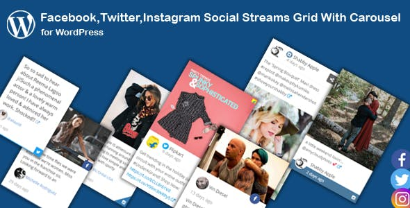 Facebook,Twitter,Instagram Social Stream Grid With Carousel for WordPress