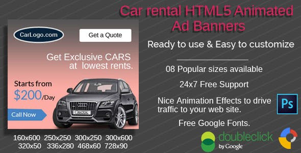 CAR Sales |  Rental HTML5 Ad Banners - 08 Sizees