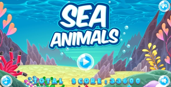 Sea Animals - HTML5 Game + Mobile game! (Construct 2 | Capx) - CodeCanyon Item for Sale