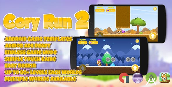 Cory Run 2 + Admob (Multiple Worlds) Easy Reskin