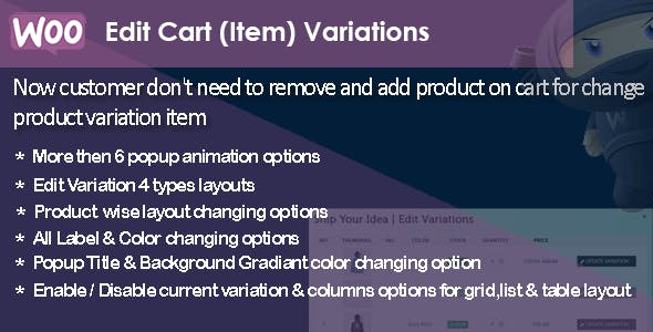WooCommerce Edit Cart Item Variations