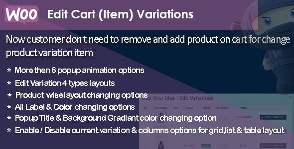 WooCommerce Edit Cart Item Variations - CodeCanyon Item for Sale