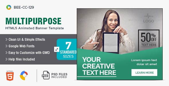 Multi Purpose HTML5 Banners - 7 Sizes - BEE-CC-129