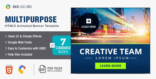 Multi Purpose HTML5 Banners - 7 Sizes - BEE-CC-130