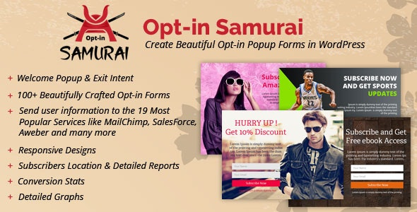 Opt-in Samurai - Create Beautiful Opt-in Popup Forms in WordPress - CodeCanyon Item for Sale