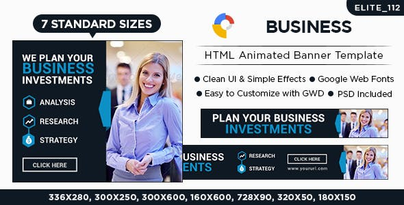 Business  HTML5 Banners - 7 Sizes - Elite-CC-112