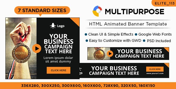 Multipurpose HTML5 Banners - 7 Sizes - Elite-CC-113
