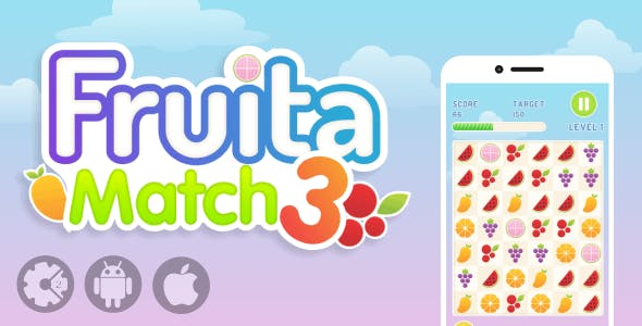 Fruita Match 3 - HTML5 Puzzle Game with AdMob Ads