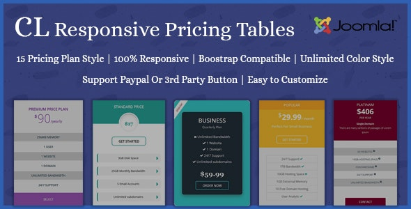 CL Responsive Pricing table - Joomla Extension - CodeCanyon Item for Sale