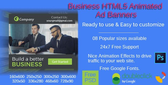 Business - Multi purpose HTML5 Ad Banners - 08 Sizes