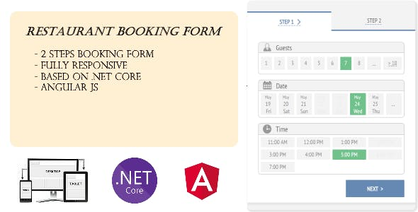 Responsive Restaurant Booking Form with .Net Core and Angular JS