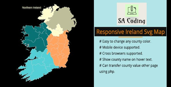 SVG Ireland Map Fully Responsive