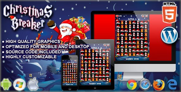 Christmas Breaker - HTML5 Match 3 Game