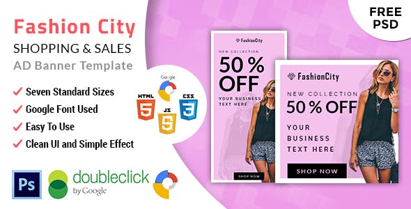 Fashioncity | Shopping HTML 5 Animated Google Banner