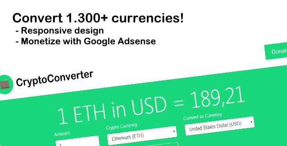 CryptoConverter - Convert 1.300+ crypto currencies - CodeCanyon Item for Sale