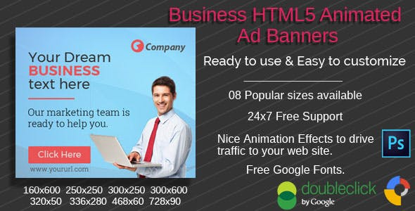 Business 02 - Multi purpose HTML5 Ad Banners - 08 Sizes