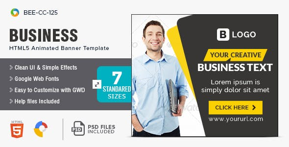 Business HTML5 Banners - 7 Sizes - BEE-CC-125