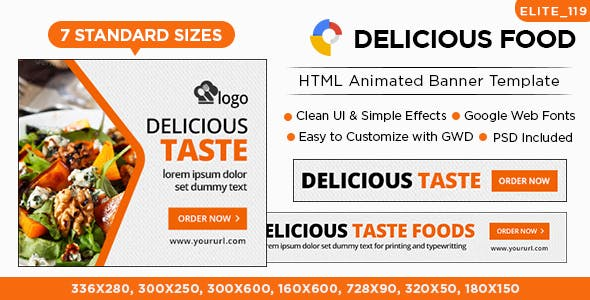Cafe & Restaurant HTML5 Banners - 7 Sizes - Elite-CC-119