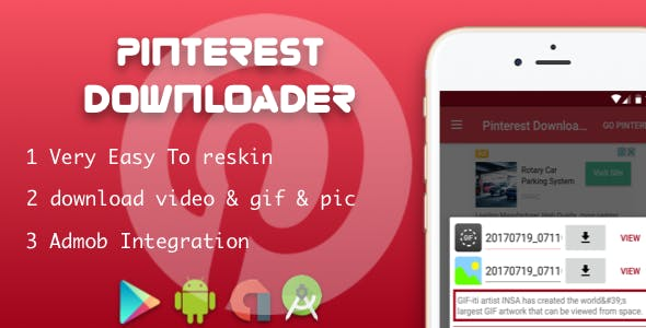 Pinterest downloader photo & image with native ads