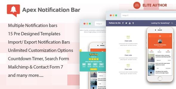 Apex Notification Bar - Responsive Notification Bar Plugin for