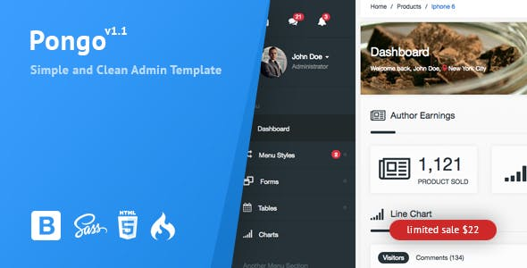 Pongo - Codeigniter Admin Template + User Management + CRUD