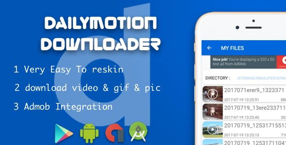 Dailymotion Video Downloader with native ads