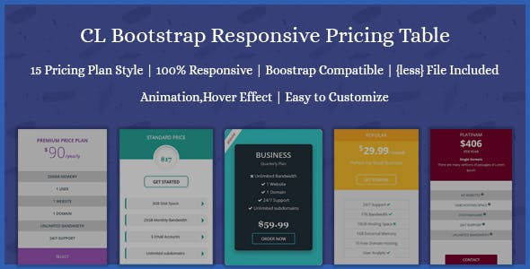 CL Bootstrap Responsive Pricing Table