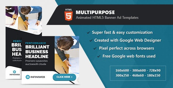 Animated Multipurpose Banner Ad Templates - HTML5 GWD