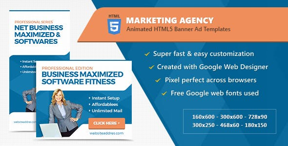 Marketing Agency Banner Ad Templates - HTML5 Animated