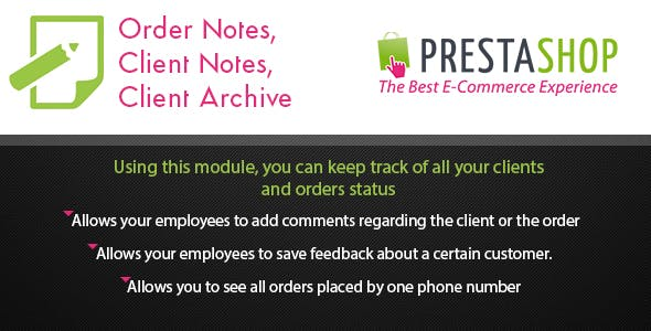 Prestashop Order Notes, Client Notes & Sticky Notes