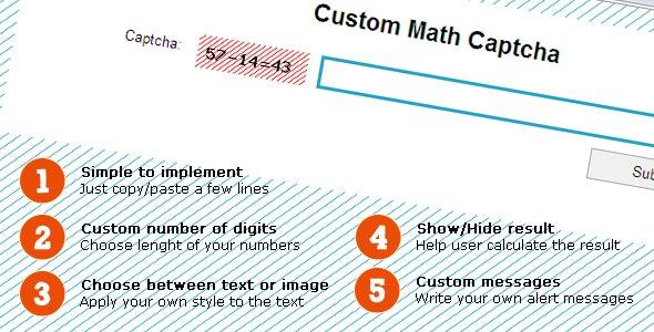 Simple Custom Math Captcha - CodeCanyon Item for Sale
