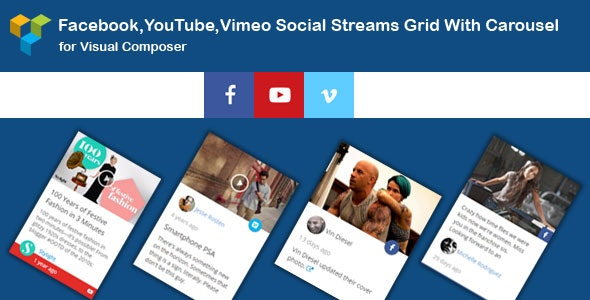 WPBakery Page Builder - Facebook,YouTube Channel,Vimeo Social Streams Grid With Carousel - CodeCanyon Item for Sale