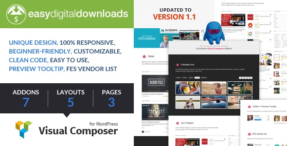 Easy Digital Downloads for Visual Composer - CodeCanyon Item for Sale