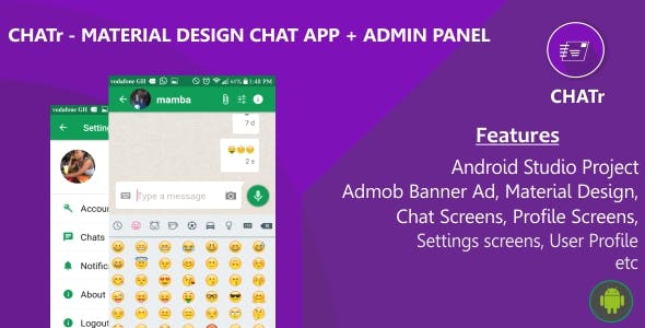 Chatr - Material Design Chat App + Admin Panel + Admob Ads