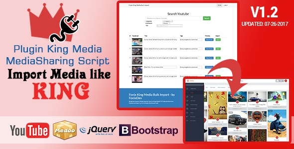 King Media Bulk Youtube Importer Plugin - CodeCanyon Item for Sale
