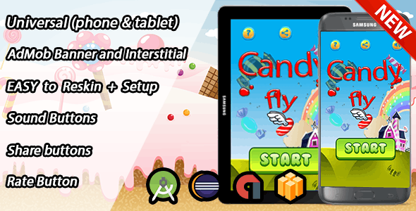 Candy Flay Game for Android (eclipse /android studio) + Admob Easy Reskin