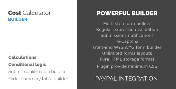 WordPress Cost Calculator and Payment Forms Builder - CodeCanyon Item for Sale