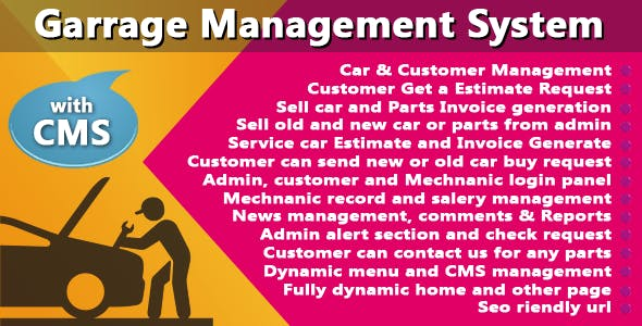Garage or Workshop Management System With CMS