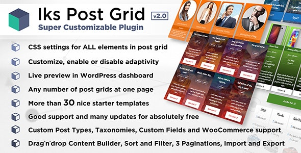 Iks Post Grid - Super Customizable Post Grid, Portfolio, Showcase, Gallery or Woo for WordPress - CodeCanyon Item for Sale
