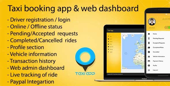 Taxi booking app & web dashboard, complete solution