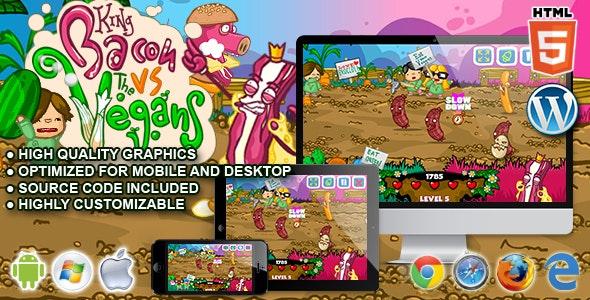 King Bacon vs Vegans - HTML5 Arcade Game by codethislab