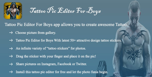 Tattoo Pic Editor for Boys (Photo Editing App) - CodeCanyon Item for Sale