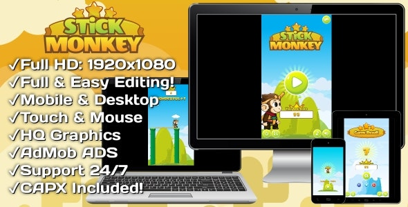 Stick Monkey - HTML5 Game + Mobile Version! (Construct 3 | Construct 2 | Capx) - CodeCanyon Item for Sale