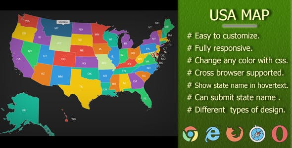 INTERACTIVE SVG USA FULLY RESPONSIVE & STATE NAME SUBMITABLE MAP by ...