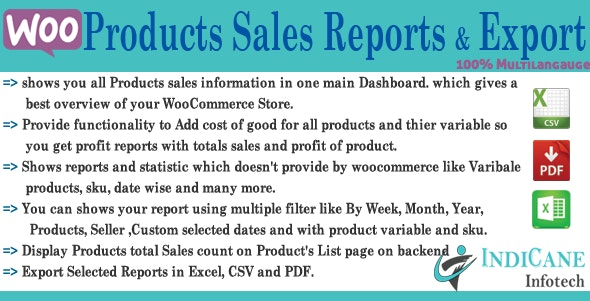 WooCommerce Product Sales Report and Exporter - CodeCanyon Item for Sale