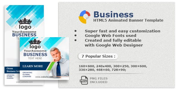 Business– HTML5 Animated Banners Created with Google Web Designer